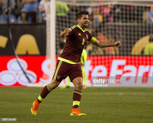 Tomas Rincon of Venezuela reacts after the match against Uruguay during the 2016 Copa America Centenario Group C match at Lincoln Financial Field on...