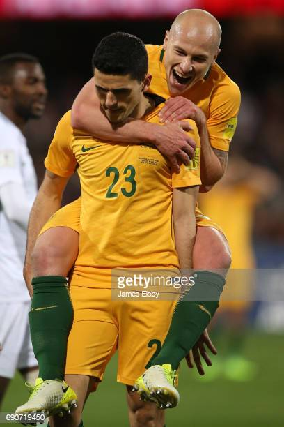 Tomas Rogic and Aaron Moody of Australia celebrate a goal during the 2018 FIFA World Cup Qualifier match between the Australian Socceroos and Saudi...