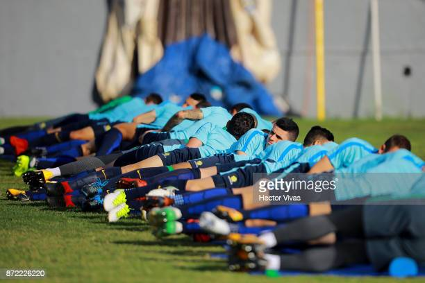 Tomas Rogic of Australia and teammates stretch during a training session ahead of the leg 1 of FIFA World Cup Qualifier Playoff against Honduras at...