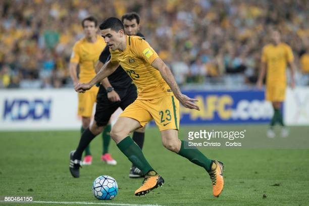 Tomas Rogic of Australia in action during the 2018 FIFA World Cup Asian Playoff match between the Australian Socceroos and Syria at ANZ Stadium on...