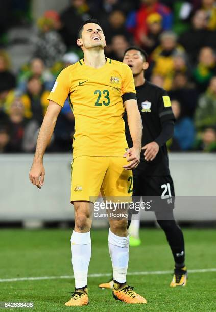 Tomas Rogic of Australia reacts after missing a shot on goal during the 2018 FIFA World Cup Qualifier match between the Australian Socceroos and...