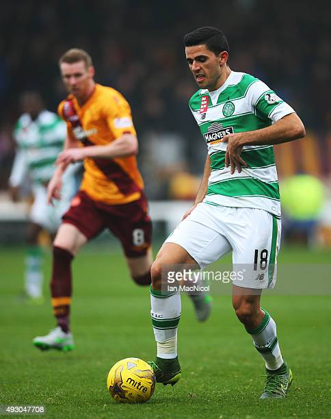 Tomas Rogic of Celtic controls the ball during the Ladbrokes Scottish Premiership match between Motherwell and Celtic at Fir Park on October 17 2015...
