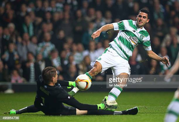 Tomas Rogic of Celtic has his shot on goal saved by goalkeeper Ethan Horvath of Molde during the UEFA Europa League Group A match between Celtic FC...