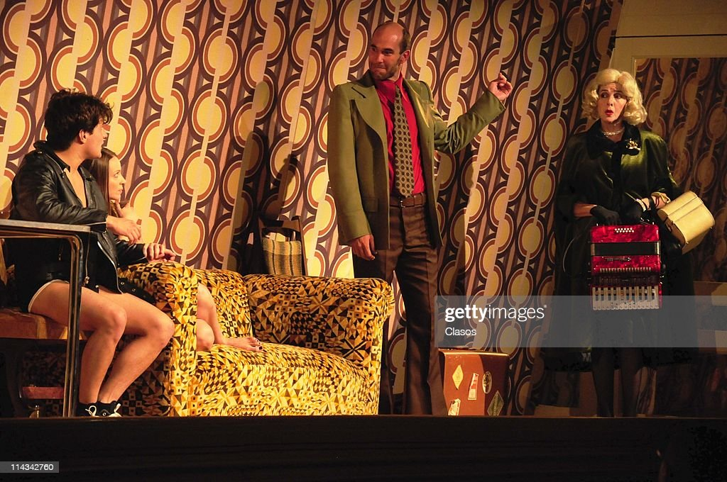 Tomas Rojas, Ricardo Polanco, Ines de Tavira and Laura Almela during a presentation of the theater play Water Drops on Burning Rocks at at El Galeon theater on May 17, 2011 in Mexico City, Mexico.