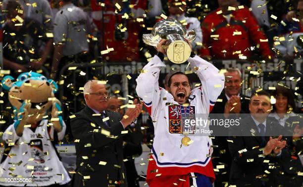 Tomas Rolinek of Czech Republic celebrates after winning the IIHF World Championship gold medal match between Russia and Czech Republic at Lanxess...