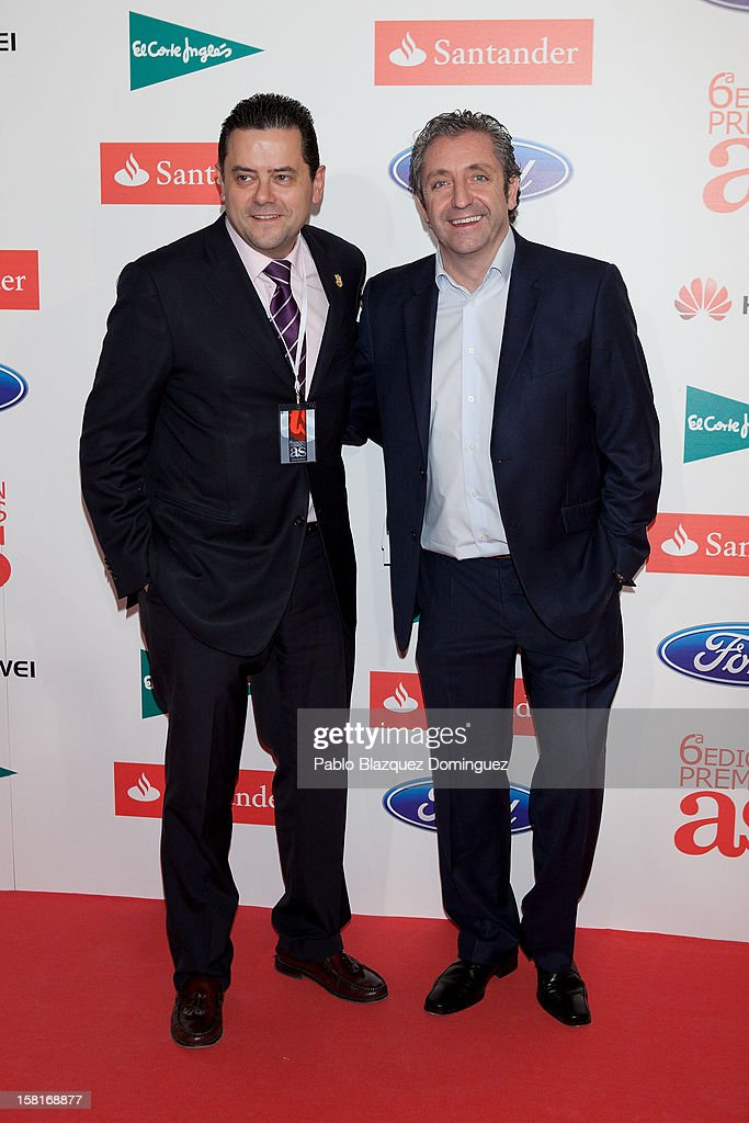 Tomas Roncero and Josep Pedrerol attend 'As Del Deporte' Awards 2012 at The Westin Palace Hotel on December 10, 2012 in Madrid, Spain.