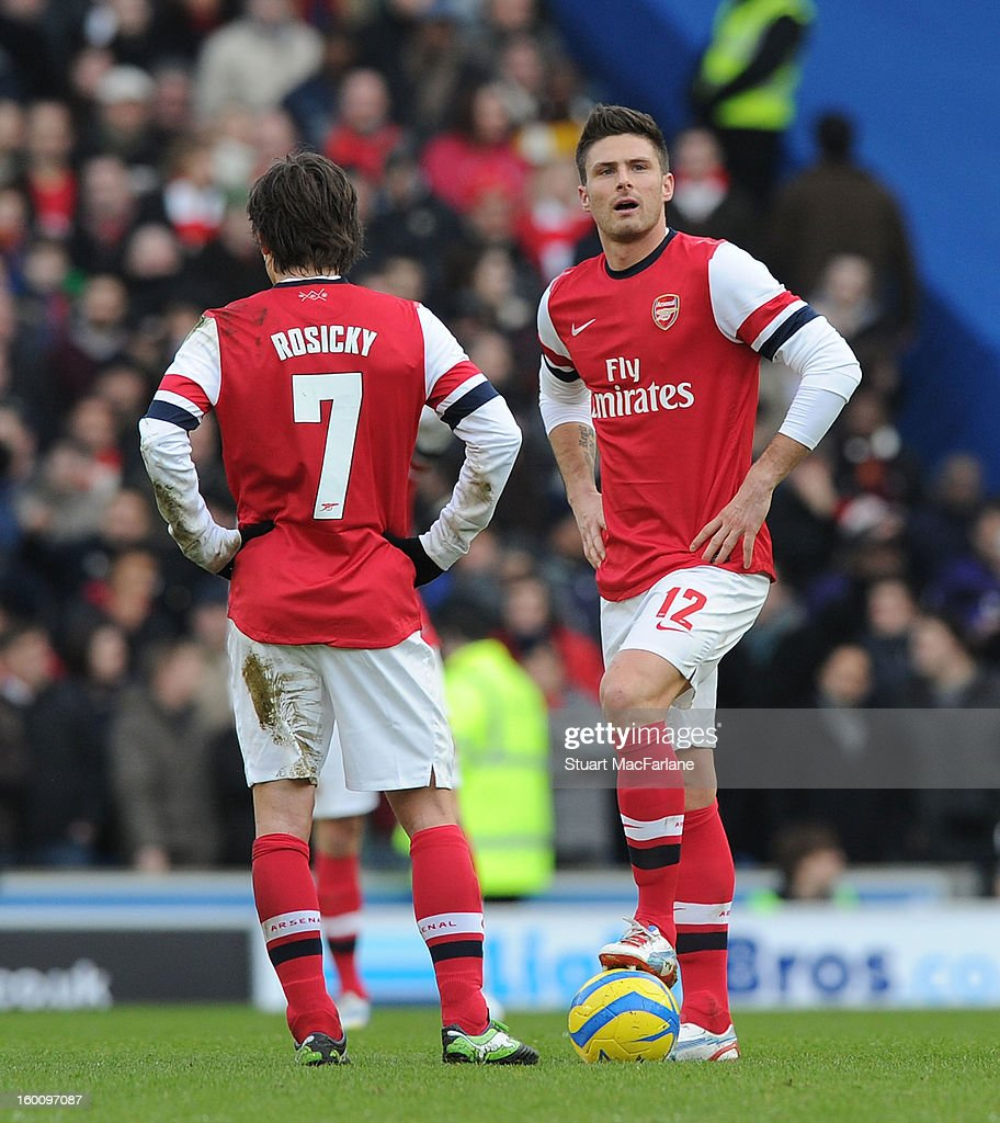 Tomas Rosicky and Olivier Giroud of Arsenal during the FA Cup Fourth Round match between Brighton & Hove Albion and Arsenal at the Amex Stadium on January 26, 2013 in Brighton, England.