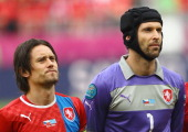 Tomas Rosicky and Petr Cech of Czech Republic line up during the UEFA EURO 2012 group A match between Greece and Czech Republic at The Municipal...