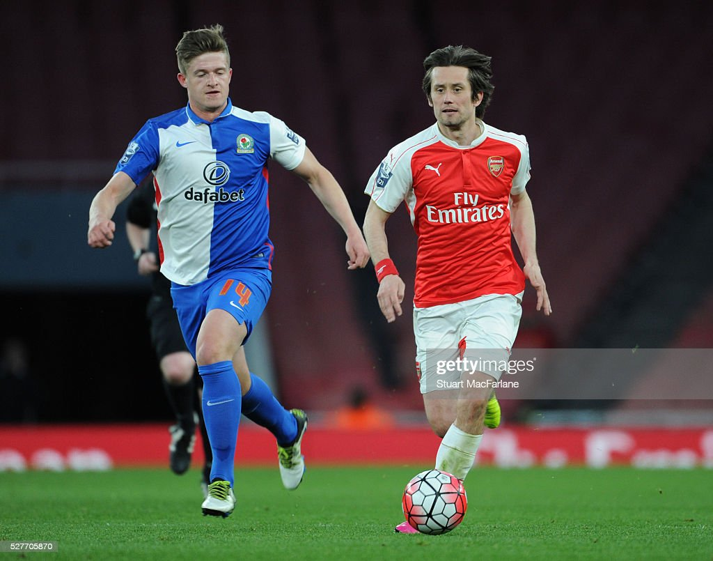 Tomas Rosicky of Arsenal breaks past Joe Grayson of Blackburn during the Barclays U21 Premier League match between Arsenal and Blackburn Rovers at Emirates Stadium on May 3, 2016 in London, England.