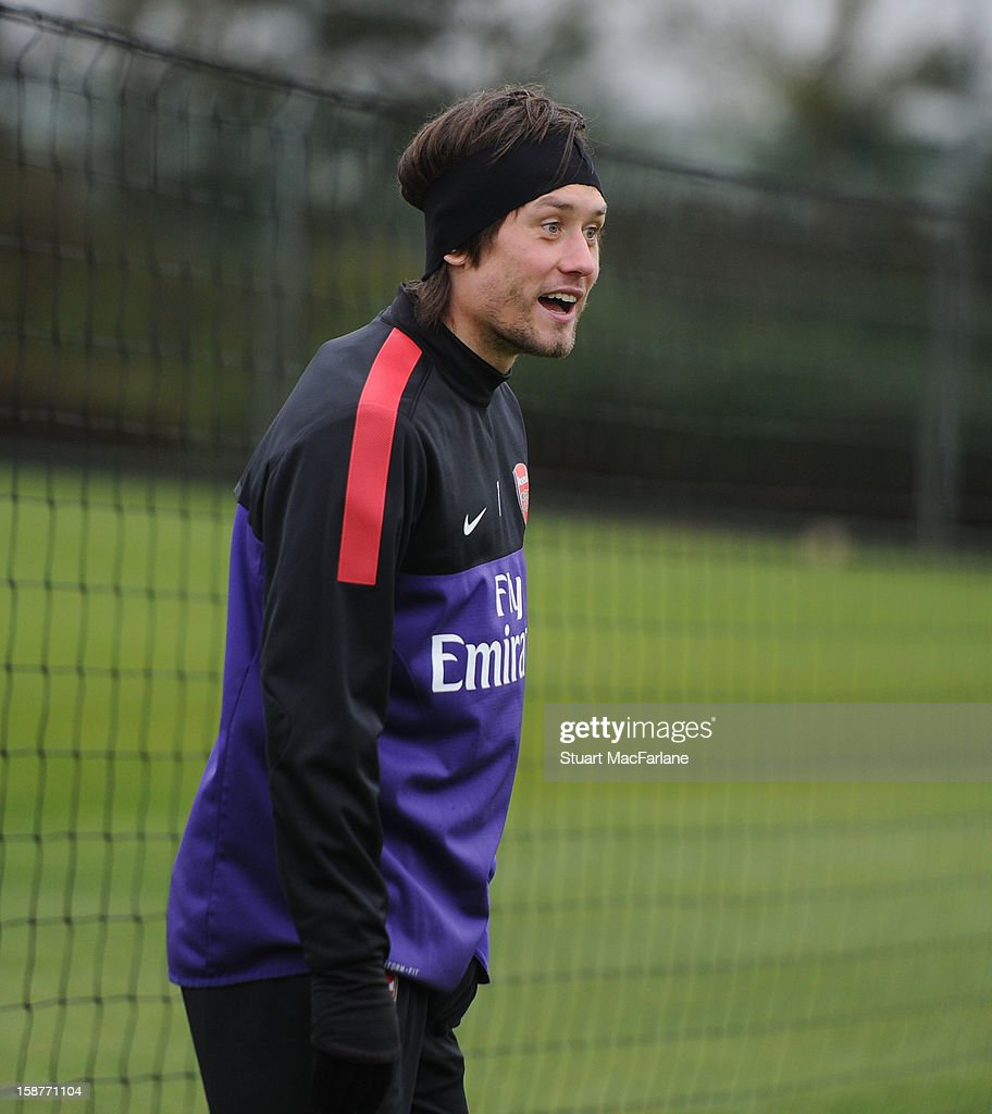 Tomas Rosicky of Arsenal during a training session at London Colney on December 28, 2012 in St Albans, England.