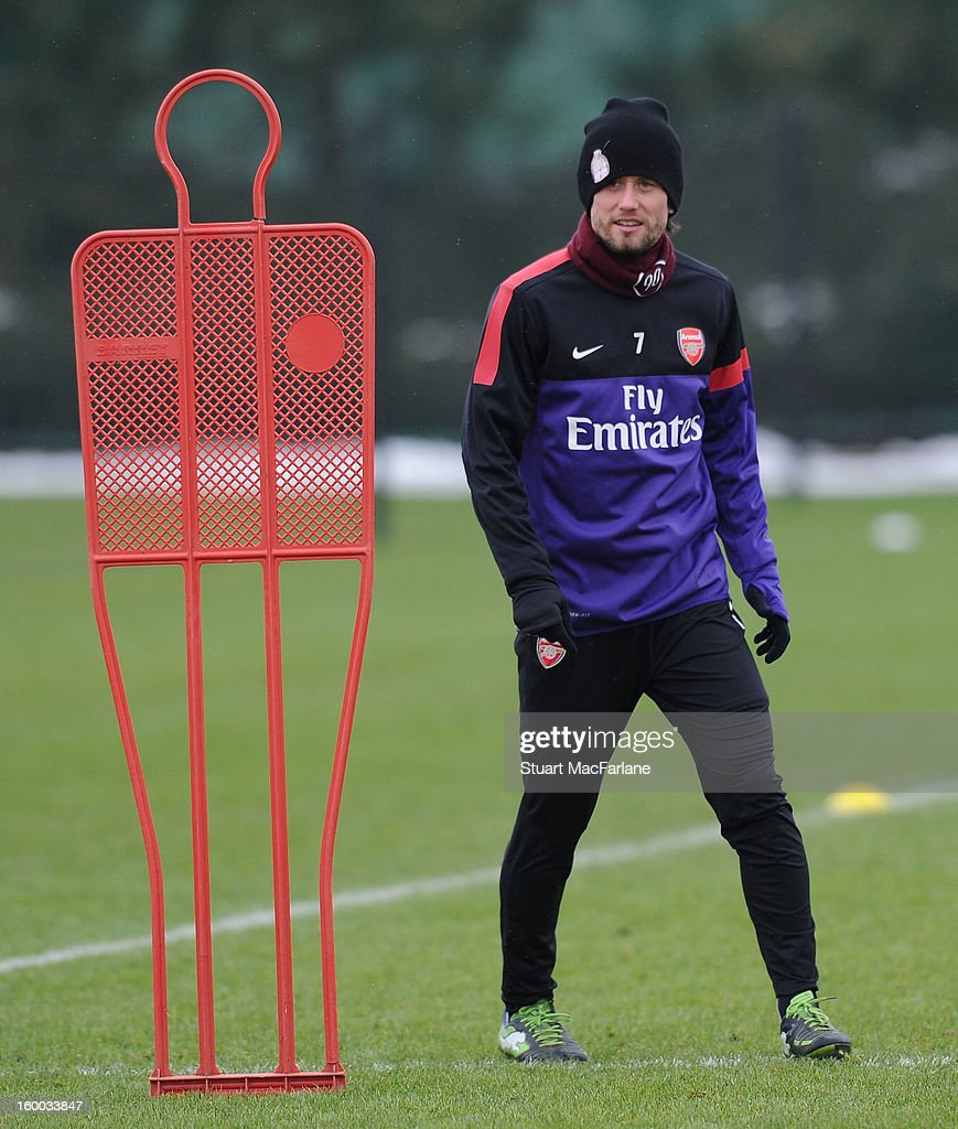 Tomas Rosicky of Arsenal during a training session at London Colney on January 25, 2013 in St Albans, England.