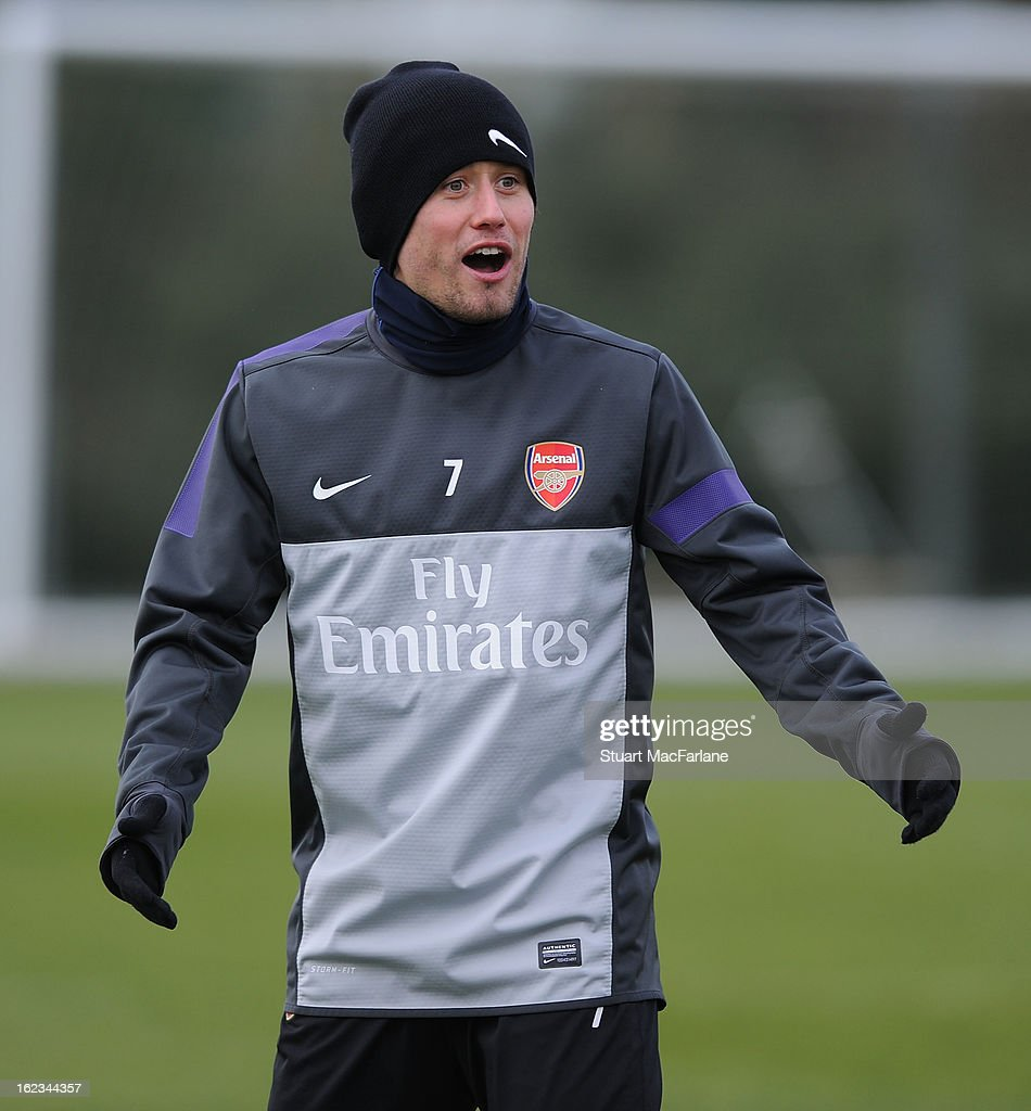 Tomas Rosicky of Arsenal during a training session at London Colney on February 22, 2013 in St Albans, England.