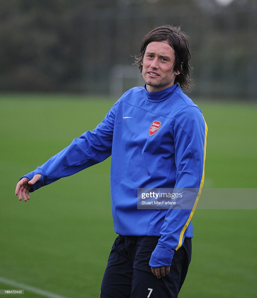 Tomas Rosicky of Arsenal during a training session at London Colney on October 21, 2013 in St Albans, England.