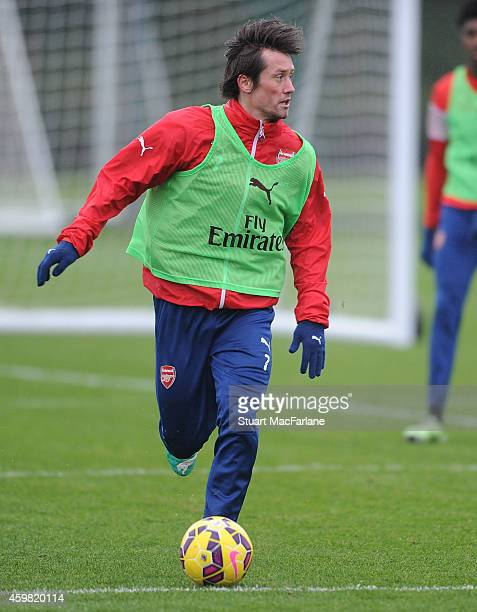 Tomas Rosicky of Arsenal during a training session at London Colney on December 2 2014 in St Albans England