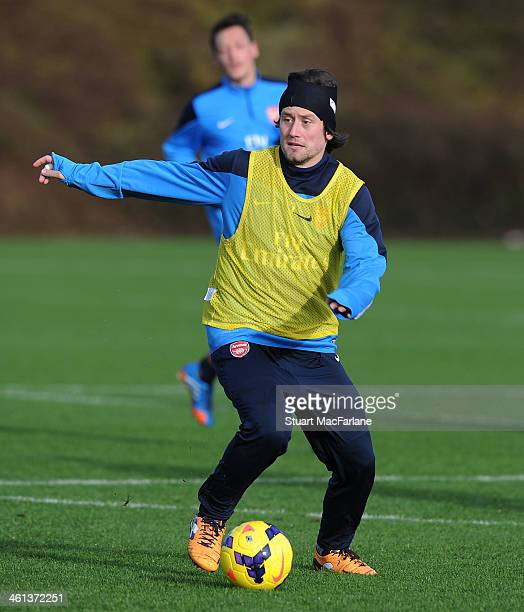 Tomas Rosicky of Arsenal during a training session at London Colney on January 8 2014 in St Albans England