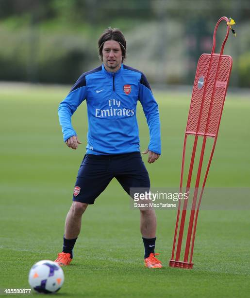 Tomas Rosicky of Arsenal during a training session at London Colney on April 19 2014 in St Albans England