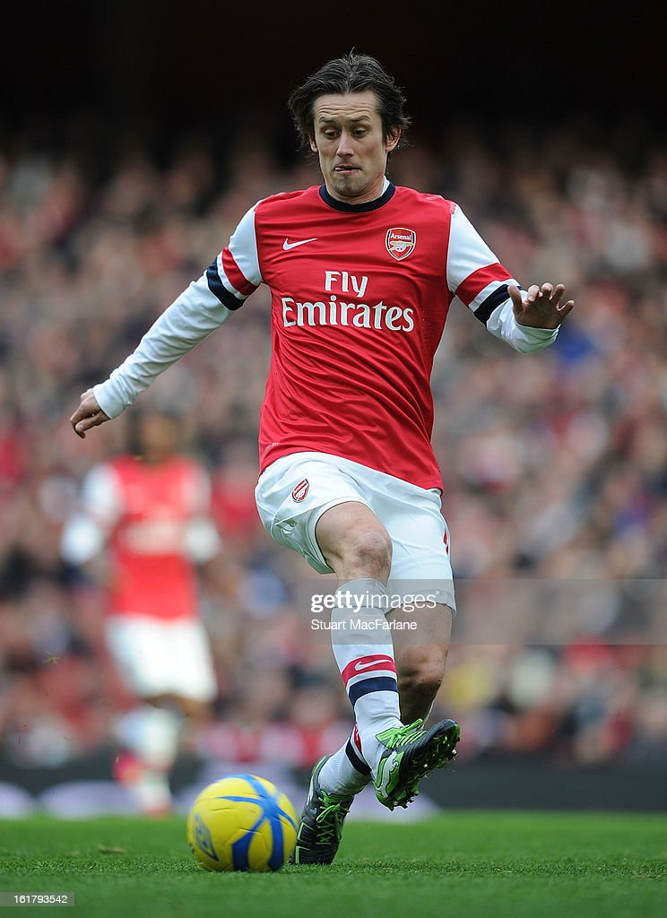 <a gi-track='captionPersonalityLinkClicked' href=/galleries/search?phrase=Tomas+Rosicky&family=editorial&specificpeople=213988 ng-click='$event.stopPropagation()'>Tomas Rosicky</a> of Arsenal during the FA Cup Fifth Round match between Arsenal and Blackburn Rovers at the Emirates Stadium on February 16, 2013 in London, England.