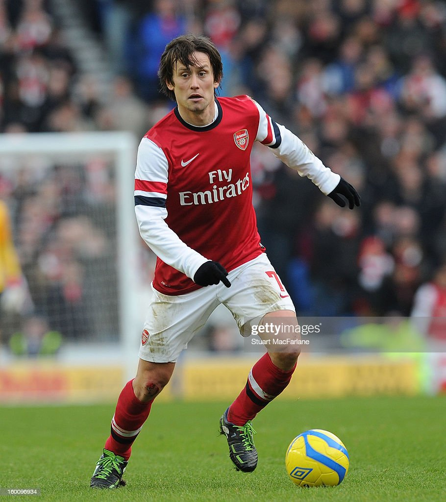 <a gi-track='captionPersonalityLinkClicked' href=/galleries/search?phrase=Tomas+Rosicky&family=editorial&specificpeople=213988 ng-click='$event.stopPropagation()'>Tomas Rosicky</a> of Arsenal during the FA Cup Fourth Round match between Brighton & Hove Albion and Arsenal at the Amex Stadium on January 26, 2013 in Brighton, England.