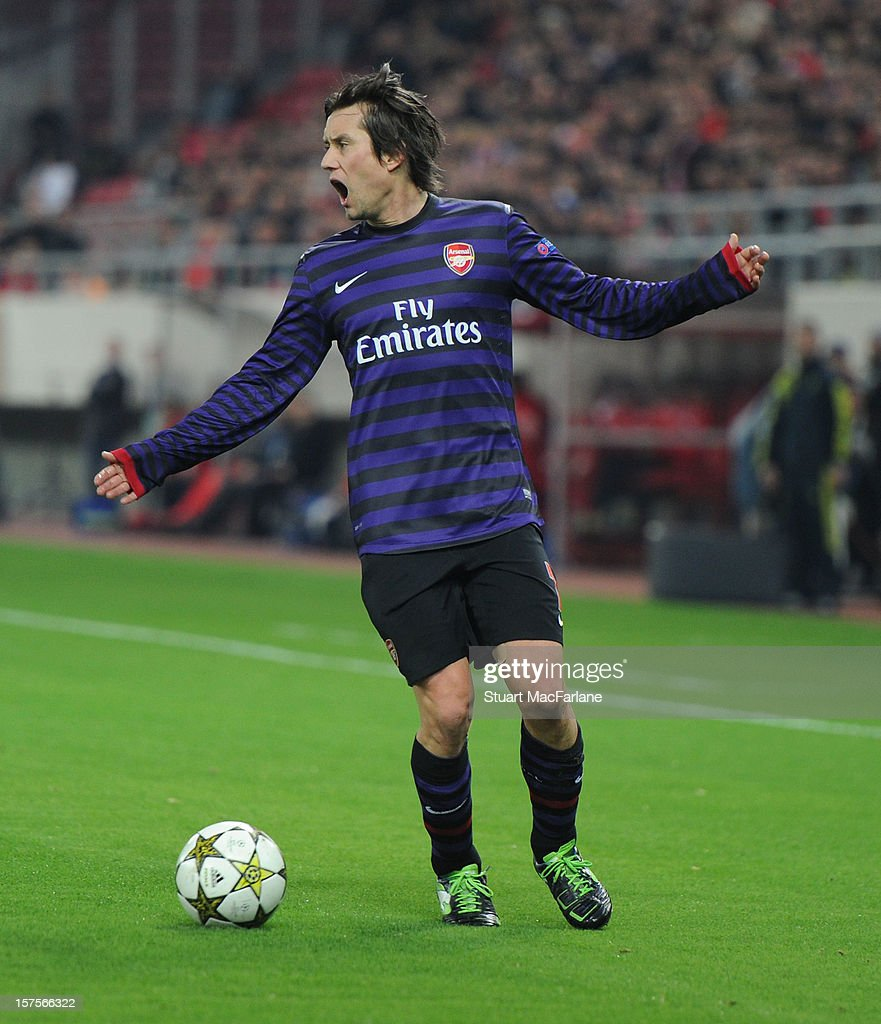 <a gi-track='captionPersonalityLinkClicked' href=/galleries/search?phrase=Tomas+Rosicky&family=editorial&specificpeople=213988 ng-click='$event.stopPropagation()'>Tomas Rosicky</a> of Arsenal during the UEFA Champions League Group B match between Olympiacos FC and Arsenal FC at Georgios Karaiskakis Stadium on December 04, 2012 in Athens, Greece.