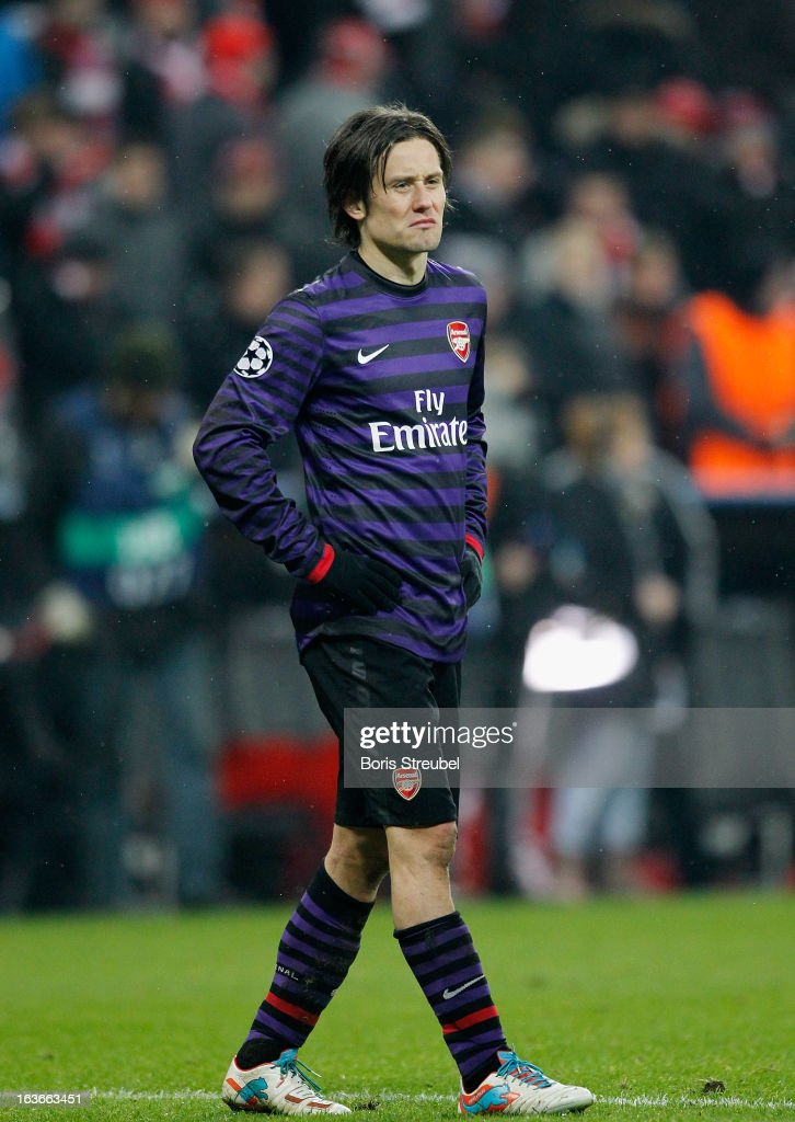<a gi-track='captionPersonalityLinkClicked' href=/galleries/search?phrase=Tomas+Rosicky&family=editorial&specificpeople=213988 ng-click='$event.stopPropagation()'>Tomas Rosicky</a> of Arsenal shows his frustration after loosing the UEFA Champions League Round of 16 second leg match between Bayern Muenchen and Arsenal FC at Allianz Arena on March 13, 2013 in Munich, Germany.