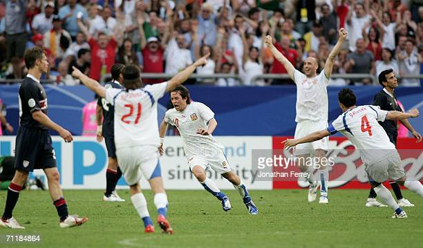 Tomas Rosicky of Czech Republic celebrates with his team mates after scoring a goal during the FIFA World Cup Germany 2006 Group E match between USA...