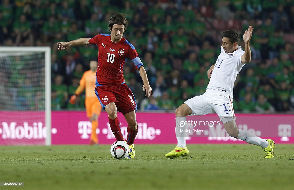 Tomas Rosicky of Czech Republic competes for the ball with Ale Bedoya of USA during the international friendly match between Czech Republic and USA...