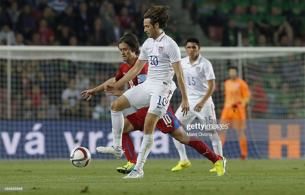 Tomas Rosicky of Czech Republic competes for the ball with Mix Diskerud of USA during the international friendly match between Czech Republic and USA...