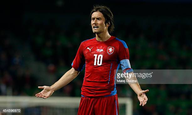Tomas Rosicky of Czech Republic gestures during the international friendly match between Czech Republic and USA on September 3 2014 in Prague Czech...