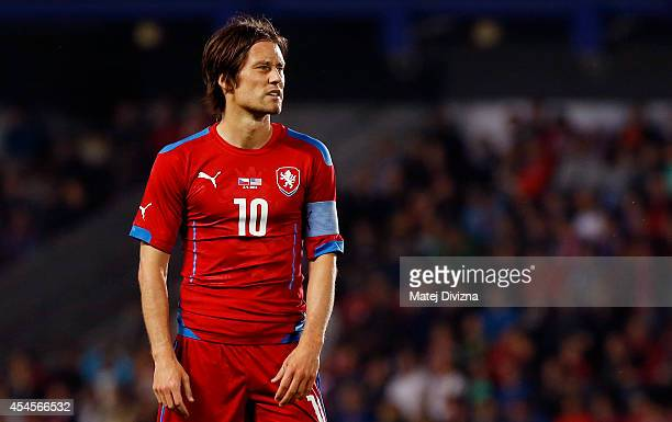 Tomas Rosicky of Czech Republic reacts during the international friendly match between Czech Republic and USA on September 3 2014 in Prague Czech...