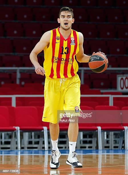 Tomas Satoransky #13 of FC Barcelona in action during the Turkish Airlines Euroleague Basketball Top 16 Date 14 game between Galatasaray Liv Hospital...