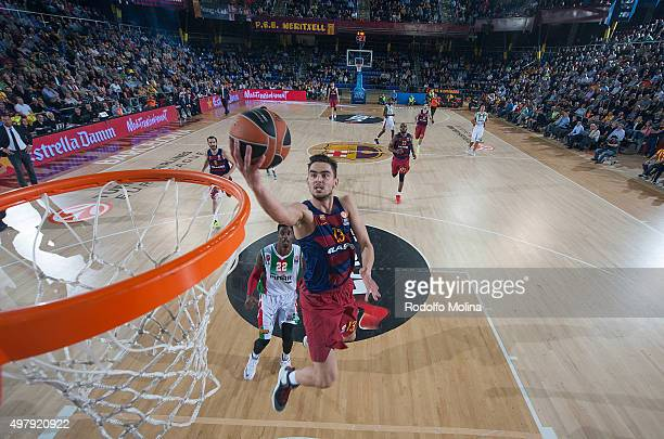 Tomas Satoransky #13 of FC Barcelona Lassa in action during the Turkish Airlines Euroleague Regular Season Round 6 game between FC Barcelona Lassa v...