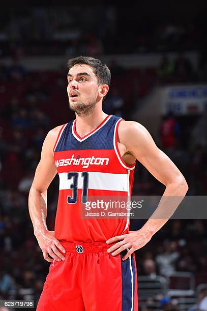 Tomas Satoransky of the a Washington Wizards looks on against the Philadelphia 76ers during a game at the Wells Fargo Center on November 16 2016 in...