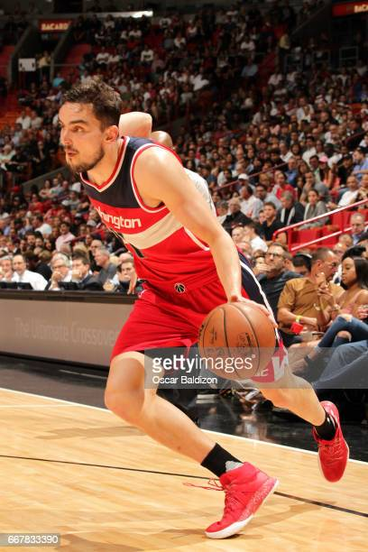 Tomas Satoransky of the Washington Wizards drives to the basket during the game against the Miami Heat on April 12 2017 at AmericanAirlines Arena in...