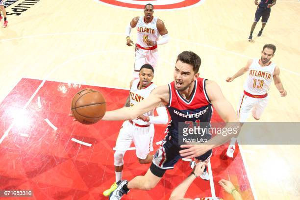 Tomas Satoransky of the Washington Wizards goes to the basket against the Atlanta Hawks in Game Three of the Eastern Conference Quarterfinals during...