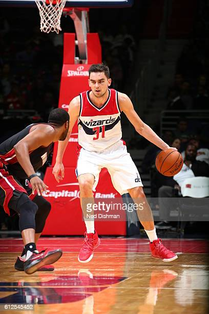 Tomas Satoransky of the Washington Wizards handles the ball against the Miami Heat during a preseason game on October 4 2016 at Verizon Center in...