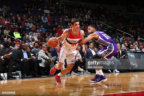 Tomas Satoransky of the Washington Wizards handles the ball against the Sacramento Kings on November 28 2016 at Verizon Center in Washington DC NOTE...