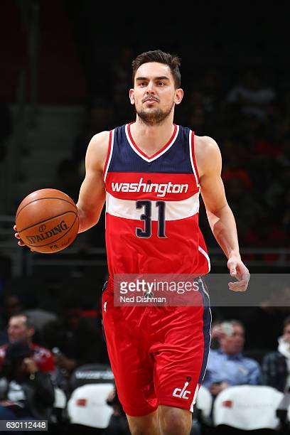 Tomas Satoransky of the Washington Wizards handles the ball against the Detroit Pistons on December 16 2016 at Verizon Center in Washington DC NOTE...