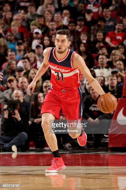 Tomas Satoransky of the Washington Wizards handles the ball against the Portland Trail Blazers on March 11 2017 at the Moda Center in Portland Oregon...