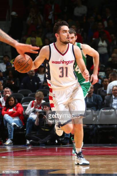 Tomas Satoransky of the Washington Wizards handles the ball against the Boston Celtics in Game Three of the Eastern Conference Semifinals of the 2017...