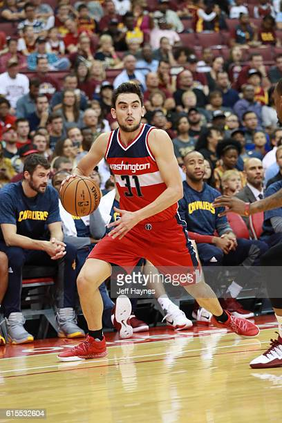 Tomas Satoransky of the Washington Wizards handles the ball during a preseason game against the Cleveland Cavaliers on October 18 2015 at Value City...
