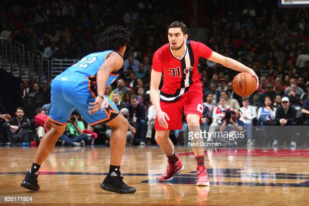 Tomas Satoransky of the Washington Wizards handles the ball during a game against the Oklahoma City Thunder on February 13 2017 at Verizon Center in...