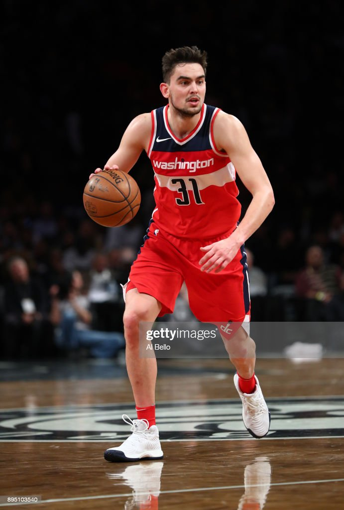 Tomas Satoransky #31 of the Washington Wizards in action against the Brooklyn Nets during their game at Barclays Center on December 12, 2017 in the Brooklyn Borough of New York City.
