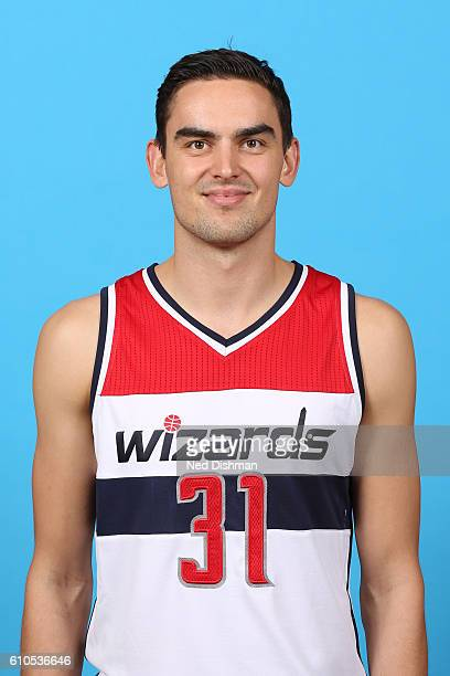 Tomas Satoransky of the Washington Wizards poses for a head shot during the 20162017 Media Day on September 26 2016 at the Verizon Center in...