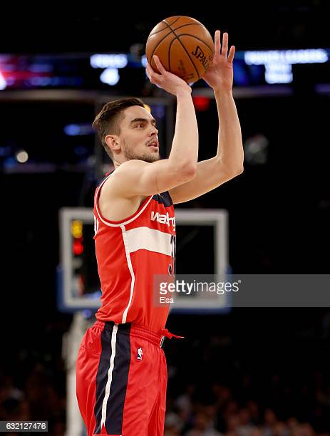 Tomas Satoransky of the Washington Wizards shoots a three point basket in the first quarter against the New York Knicks at Madison Square Garden on...