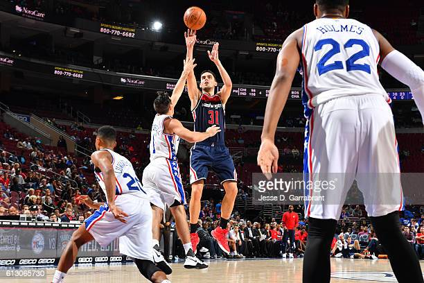 Tomas Satoransky of the Washington Wizards shoots the ball against the Philadelphia 76ers in a preseason game on October 6 2016 at Wells Fargo Center...