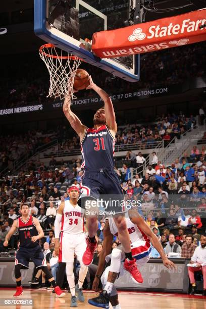 Tomas Satoransky of the Washington Wizards shoots the ball against the Detroit Pistons on April 10 2017 at The Palace of Auburn Hills in Auburn Hills...