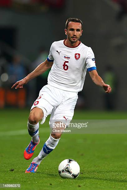 Tomas Sivok l of Czech Republic controls the ball during the UEFA EURO 2012 group A match between Russia and Czech Republic at The Municipal Stadium...