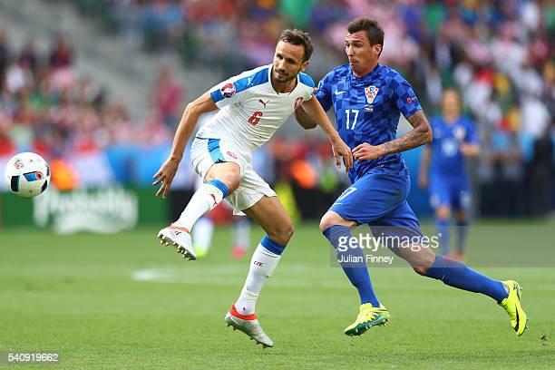Tomas Sivok of Czech Republic and Mario Mandzukic of Croatia in action during the UEFA EURO 2016 Group D match between Czech Republic and Croatia at...