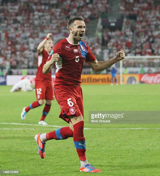 Tomas Sivok of Czech Republic celebrates victory and qualification to the QuarterFinals after the UEFA EURO 2012 group A match between Czech Republic...