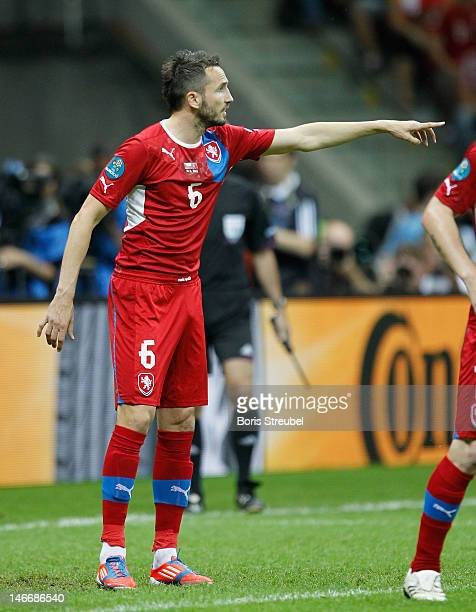 Tomas Sivok of Czech Republic gestures during the UEFA EURO 2012 quarter final match between Czech Republic and Portugal at The National Stadium on...